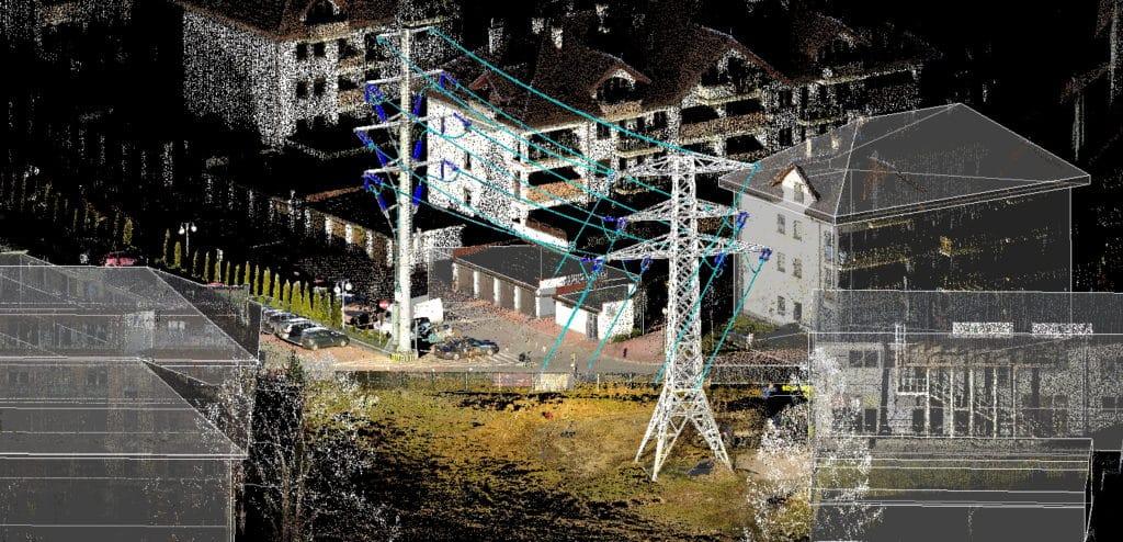 Model 3D słupów wysokiego napięcia