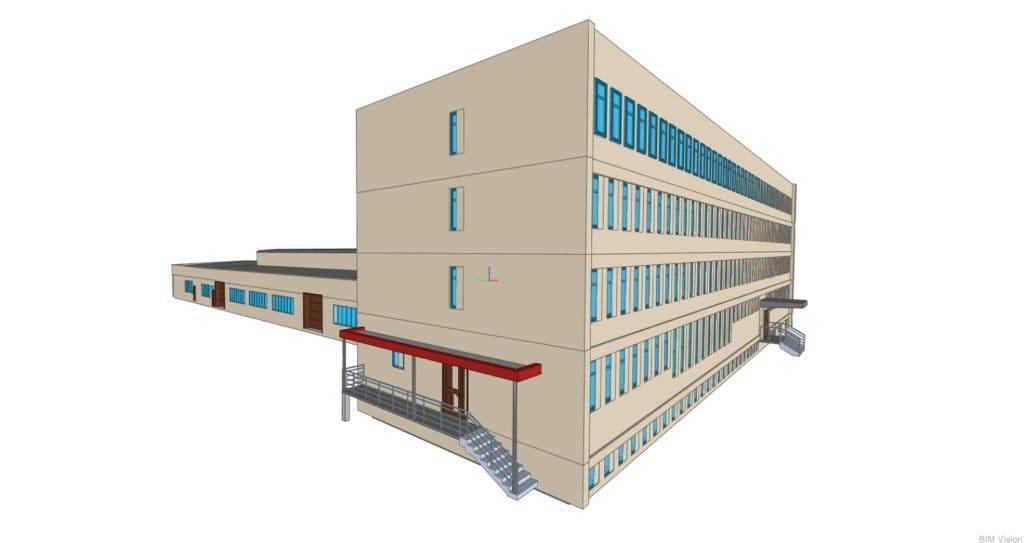 Model 3D – hala produkcyjna i budynek biurowy